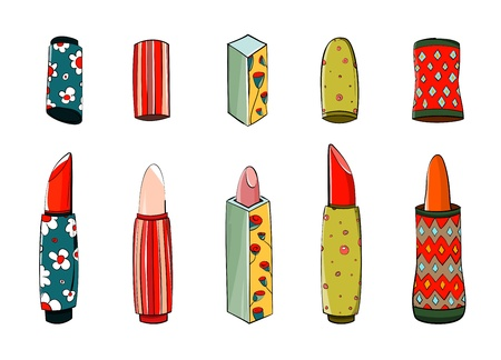 Lipstick Set Colorful Drawing Vector
