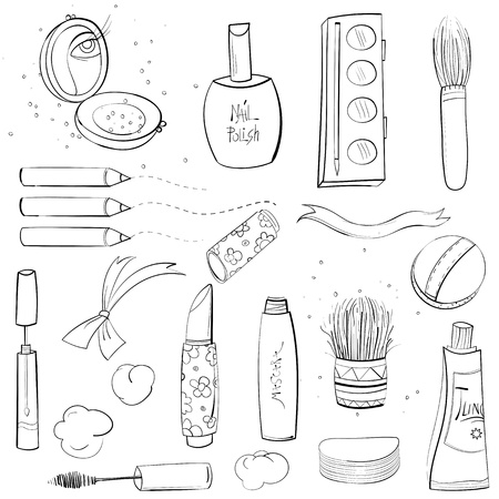 make up brush: Makeup Set Disegno Sketch