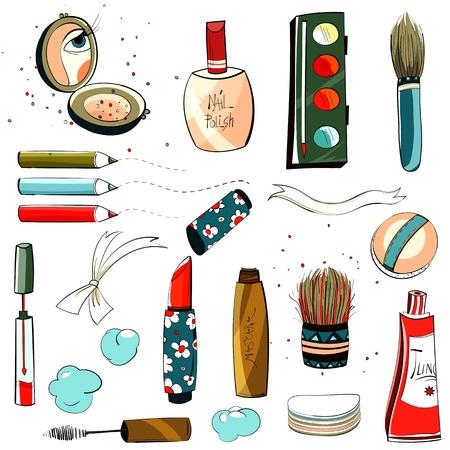 make up brush: Set de maquillaje colorido Vectores