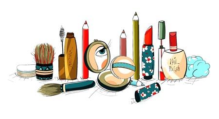 make up brush: Maquillaje Dibujo Colecci�n colorida