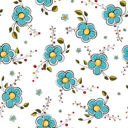 delicate: Blue Flowers Seamless Pattern