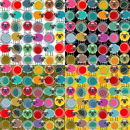 gomitoli di lana: Colorful Pecora Seamless pattern e Filati palle Vettoriali