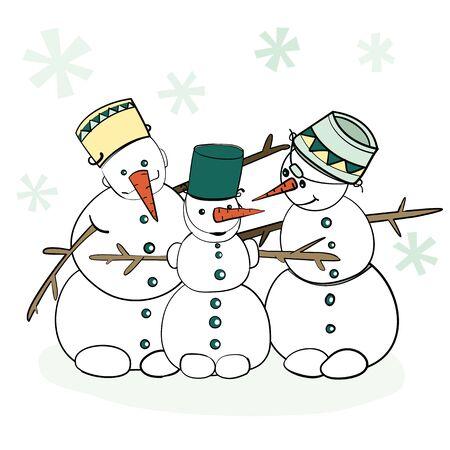 Humorous Winter Snowman Illustration