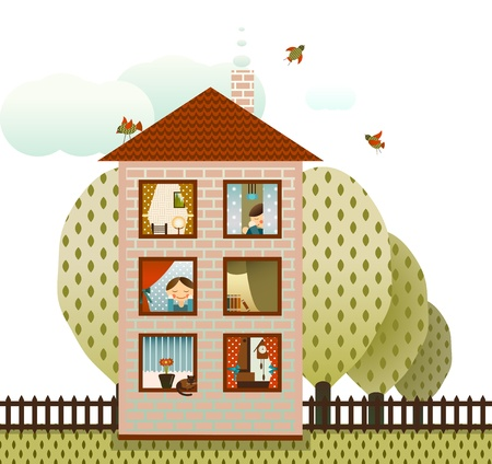 Neighbors in the Village House Illustration