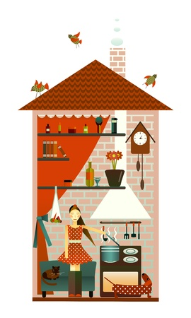 Young Woman in the Kitchen Vector