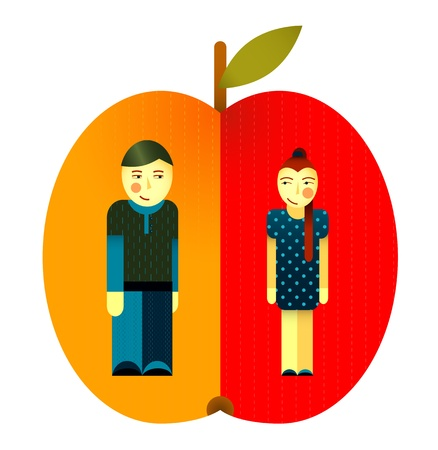 Young Graphic Couple and Apple Stock Vector - 16916539