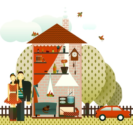 Couple in the Village House Stock Vector - 16916544