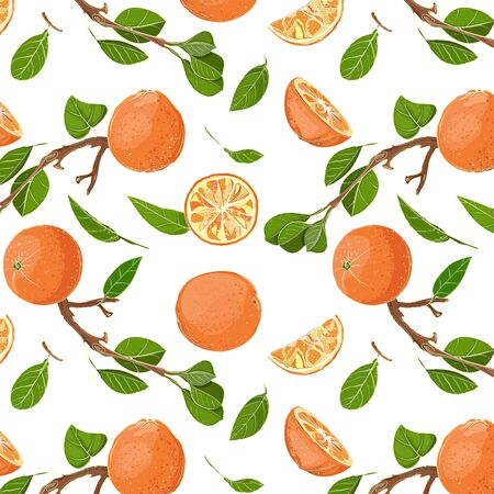 Fresh Oranges and Leaves Seamless Pattern Vector