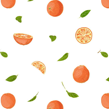 Fresh Oranges and Leaves Seamless Pattern Stock Vector - 16980837