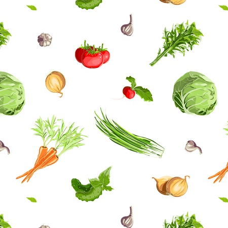 Fresh Vegetables Seamless Pattern Vector