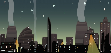 Night City Landscape Cartoon Vector