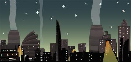 night skyline: Night City Landscape Cartoon Illustration