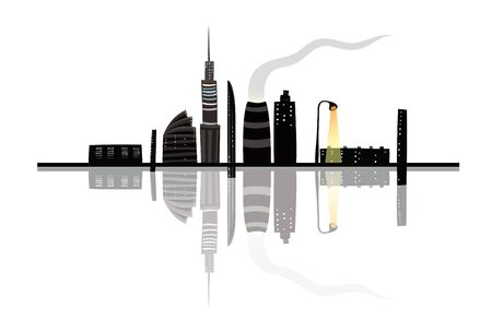 Night City Landscape Reflection Cartoon Stock Vector - 17428563