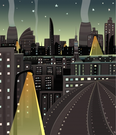 Night Cityscape Cartoon Stock Vector - 17428555