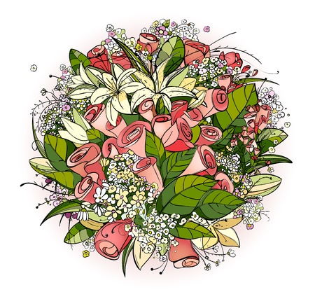 lily flowers: Rosas y Lily Flowers Bunch Ilustraci�n