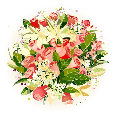 flower bunch: Rosas y Lily Flowers Bunch Ilustraci�n