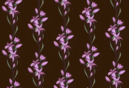 Lily Flowers Seamless Pattern on Dark Background Stock Vector - 17899097