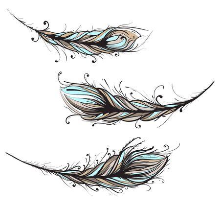 Ilustración intrincado plumas decorativas