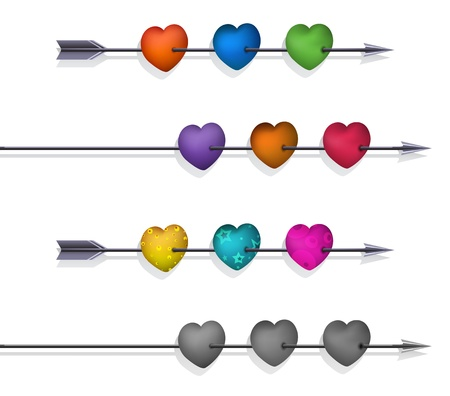 Isolated 3d Hearts and Arrows Set Stock Vector - 17899093