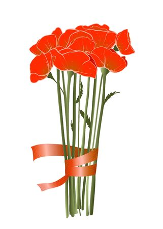 Beautiful Red Poppies with Ribbon Stock Vector - 18166775