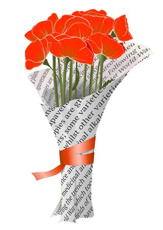 Beautiful Red Poppies in Newspaper Illustration Stock Vector - 18166764