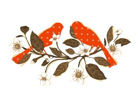 oiseau dessin: Fleurs blanches et oiseaux rouges sur Twig Composition Illustration
