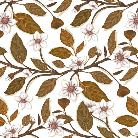 dingy: White Flowers on Twig Seamless Pattern