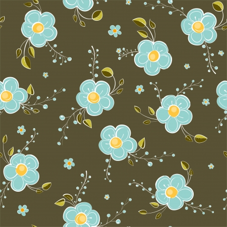 abstract flowers: Seamless Blue Flowers Pattern Illustration