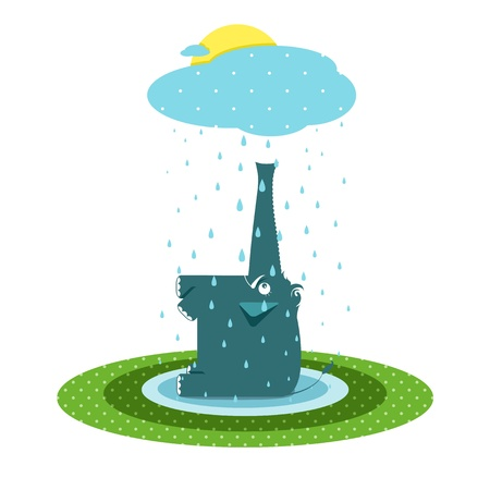 Funny Graphic Elephant and Rain Vector
