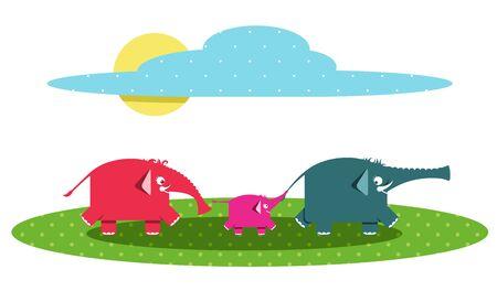 Funny Graphic Elephants Family Vector