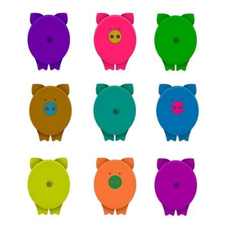 Cartoon Graphic Crazy Pigs with Snouts Vector