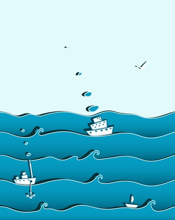 mew: Ocean or Sea Background with Ships Illustration