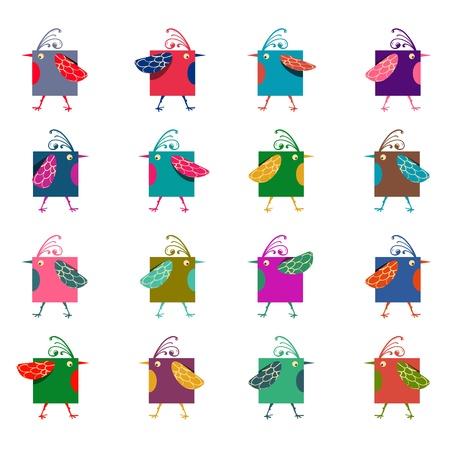 Cartoon Graphic Colorful Birds Vector
