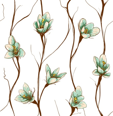 Vintage Flowers Seamless Pattern Background Vector
