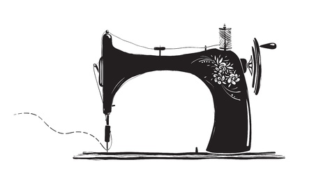 Vintage Sewing Machine Inky Illustration Vector