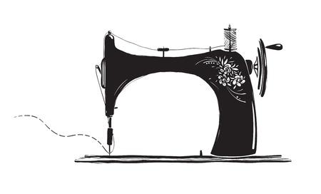 n hmaschine: Weinlese N�hmaschine Inky Illustration