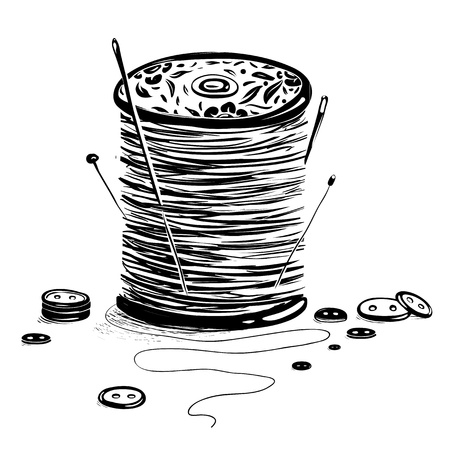 Spool of Thread with Needles and Buttons Illustration
