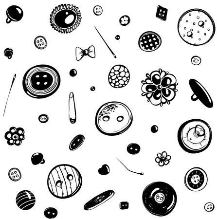Buttons and Needles Seamless Pattern Ink Drawing Stock Vector - 19861895