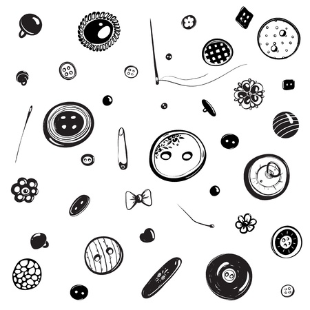 Buttons and Needles Set Ink Drawing Stock Vector - 19861892