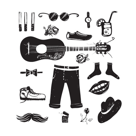 inky: Hipster Clothing and Accessories Collection Illustration