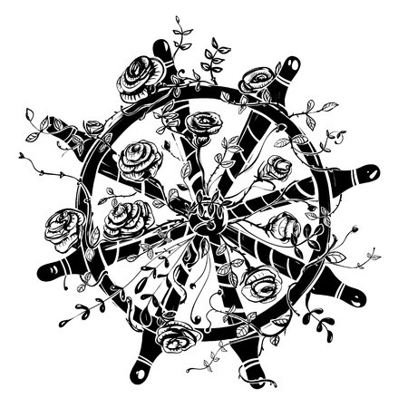 tattoo rose: Steering Wheel with Roses Illustration
