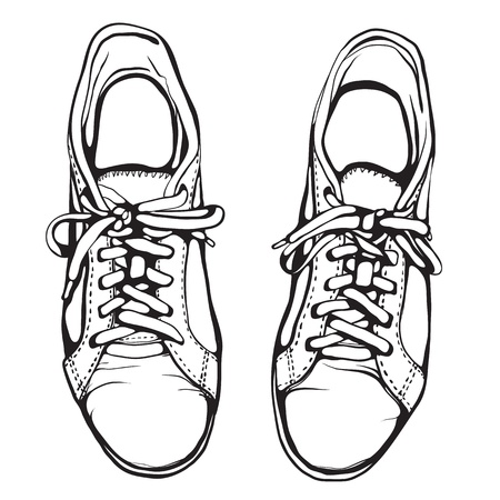 old shoes: Shabby Running Shoes in Black Ink