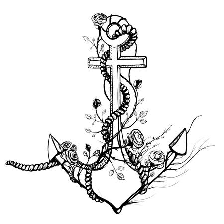 ancre marine: Romantique Old Anchor avec Roses encre noire Illustration