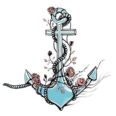 Romantische oude Anker met Rozen Zwarte Inkt Vector Illustratie