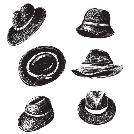Inky fashion doodles head-dress set Illustration