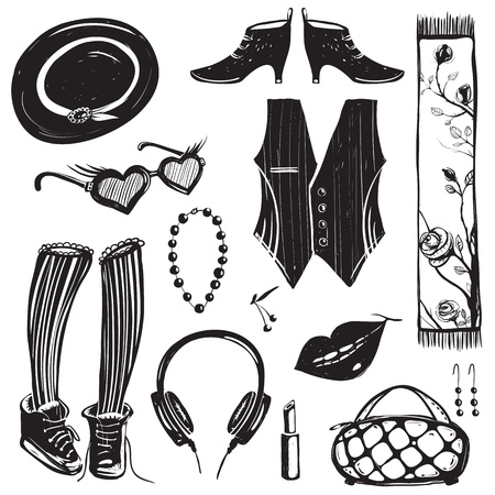 mujer hippie: Doodles Moda Inky Set Vectores