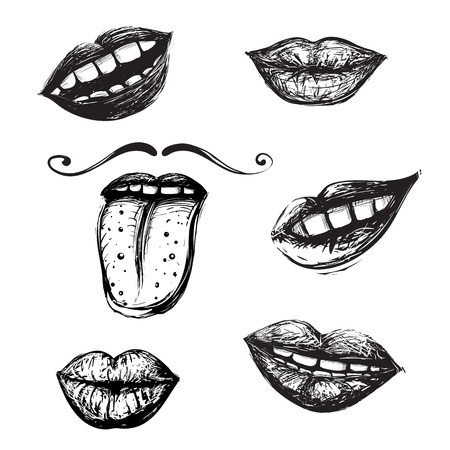 Inky mouth doodles set Vector