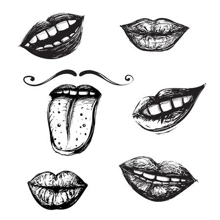 inky: Inky mouth doodles set Illustration