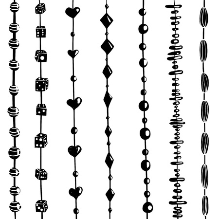 fashion jewelry: Beads on a string collection Illustration