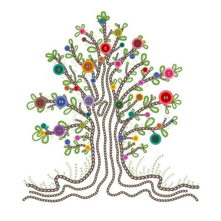 ボタン果物とカラフルな刺繍ツリー  イラスト・ベクター素材